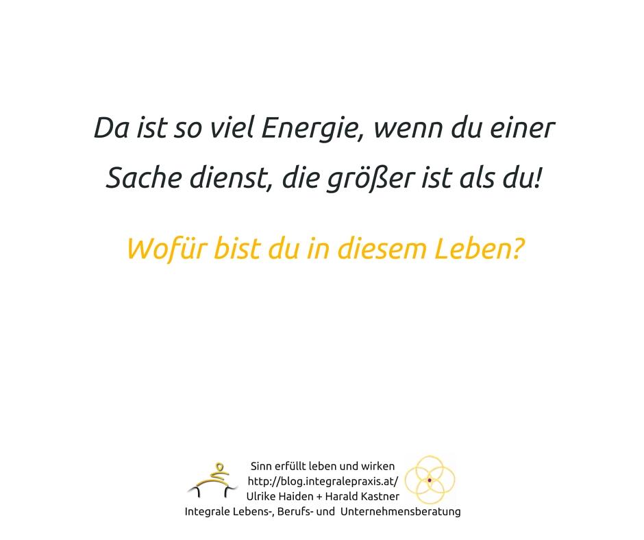 Da ist so viel Energie, wenn du einer Sache dienst, die größer ist als du!